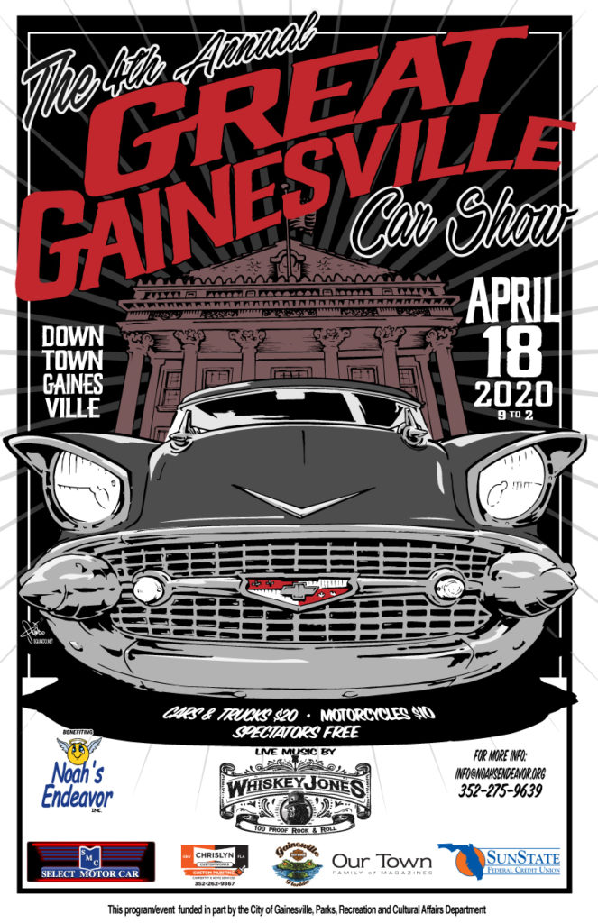 The 4th Annual Great Gainesville Car Show April 18, 2020 from 9am to 2pm in Downtown Gainesville!
