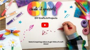 """Image of rainbow-colored letters C I Y and the words """"create it yourself."""" A hand is shown doodling on a sheet of white paper."""