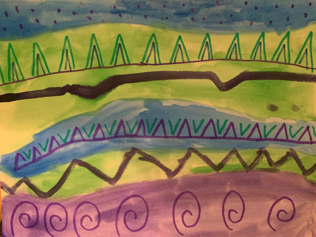 This image shows a watercolor painting that uses the cool colors blue, green, and purple. These colors are painted in horizontal stripes to form a background. Lines, curls, and triangles are added with darker shades of these colors.